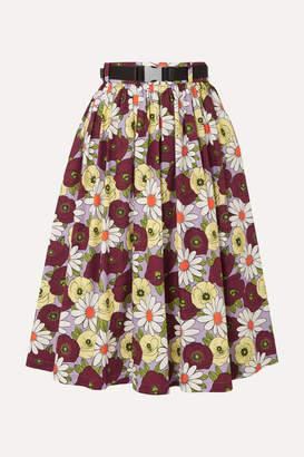 f32514c442cf8 Prada Belted Floral-print Cotton-poplin Skirt - Purple