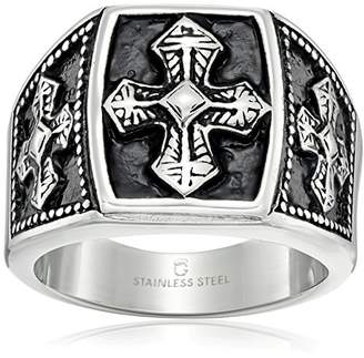 Cold Steel Stainless Steel and Black IP Tribal Ring