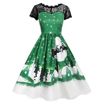 5510a31e5bf7 ASTV-Women Dress Women's Xmas Dress Vintage Lace Short Sleeve Print Christmas  Party Swing Dress