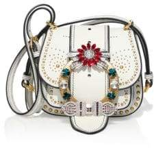 Miu MiuMiu Miu Dahlia Jewel-Buckle Studded Leather Shoulder Bag