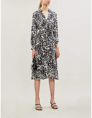 Diane von Furstenberg Donika gathered leopard-print silk-crepe midi dress