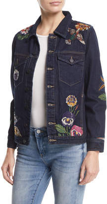 Blank NYC Culture Vulture Button-Front Floral-Embroidered Denim Jacket