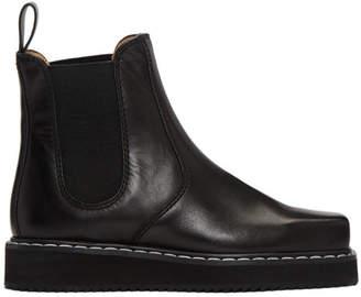 Jil Sander Navy Black Square Toe Chelsea Boots