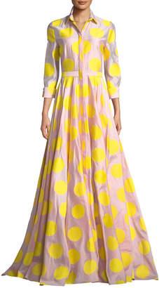 Carolina Herrera 3/4 Sleeve Dot-Print Fil Coupe Trench Gown