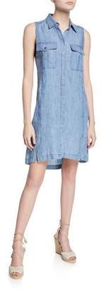 Trina Turk Sunset Harbor Button-Front Sleeveless Chambray Dress