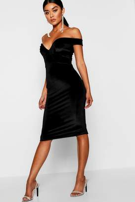 boohoo Velvet Off Shoulder Bodycon Dress