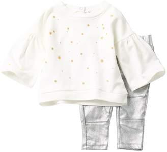 Splendid Embroidered Top & Metallic Leggings 2-Piece Set (Baby Girls)
