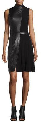 Thierry Mugler Sleeveless Mock-Neck Leather Combo Dress, Black $2,935 thestylecure.com