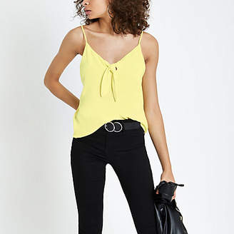 River Island Yellow bow front cami top