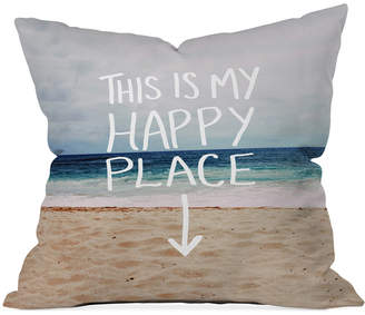 """Deny Designs Leah Flores Happy Place Beach 16"""" Square Throw Pillow"""
