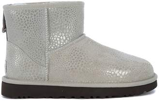 UGG Classic Mini Glitzy Ankle Boots In Reptile Effect Suede Leather