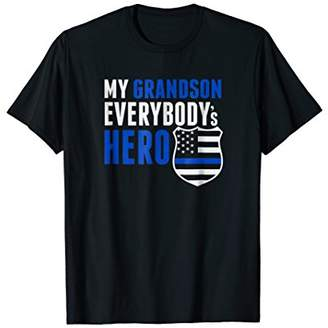 Proud Grandfather Police Grandson Blue Line Tshirt