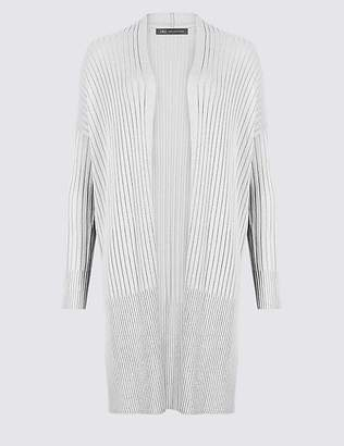 Marks and Spencer Open Front Ribbed Longline Cardigan