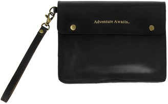 Vida Vida Adventure Awaits Black Leather Travel Wallet