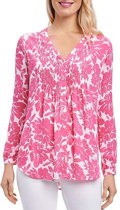 Foxcroft Pintuck Floral Print Blouse