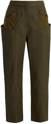 Stella McCartney Straight-leg contrast-panel cropped trousers