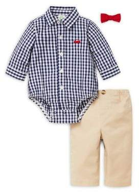 Little Me Baby Boy's Three-Piece Gingham Cotton Bodysuit, Pants & Bow Tie Set