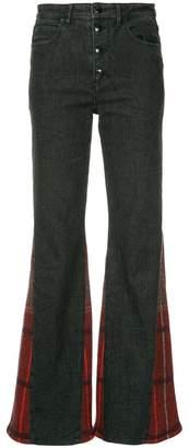 Sonia Rykiel tartan insert flare jeans