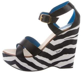 Emilio Pucci Leather Crossover Wedges