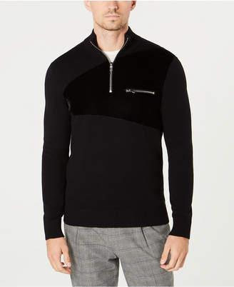 INC International Concepts I.n.c. Men Rebel Varsity Quarter-Zip Sweater
