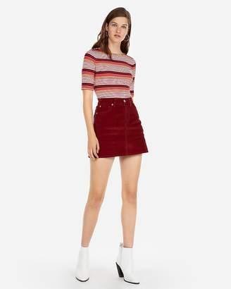 Express High Waisted Corduroy Slim Mini Skirt