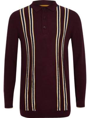 River Island Boys purple stripe long sleeve polo shirt