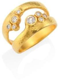 Gurhan Pointelle Diamond& 22-24K Yellow Gold Dual Ring