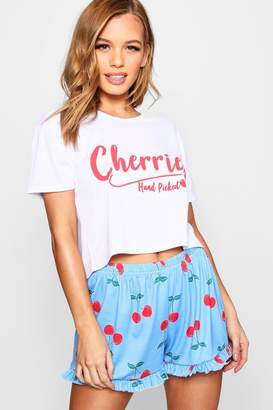 boohoo Petite Melissa Cherries Slogan Pj Short Set