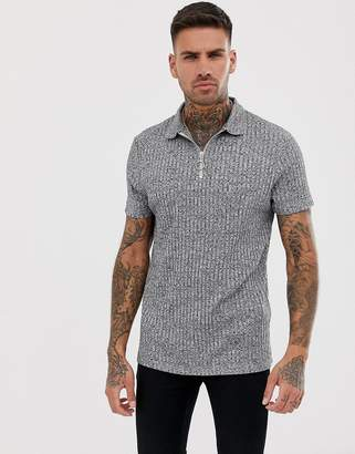Asos Design DESIGN polo shirt in interest rib with zip neck in grey