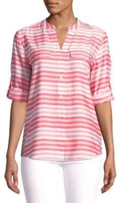Calvin Klein Splitneck Stripe Utility Blouse