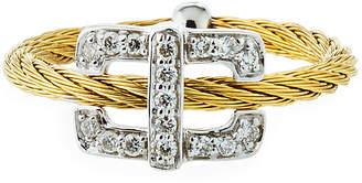 Alor Diamond Rectangular-Station Ring, Gold, Size 6.5