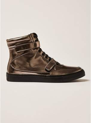 Topman Mens Metallic Pewter Leather Bishops Hi Top Boots