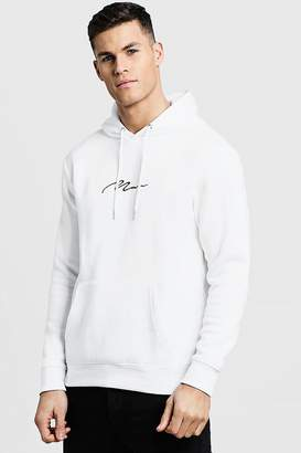 boohoo NEW Mens MAN Signature Embroidered Hoodie in White size L