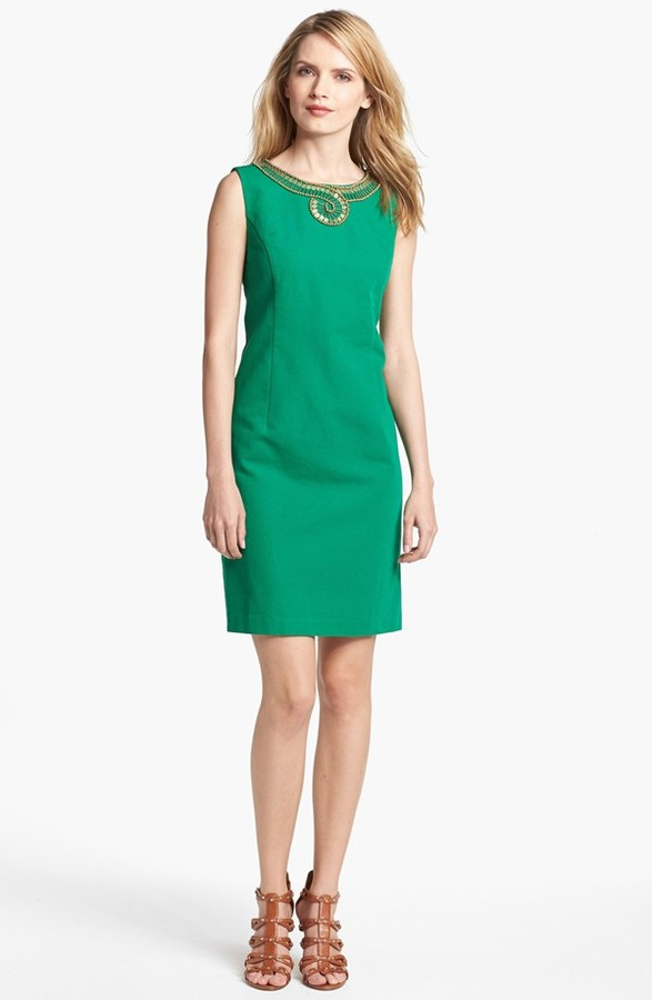 Ellen Tracy Embellished Cotton Sheath Dress