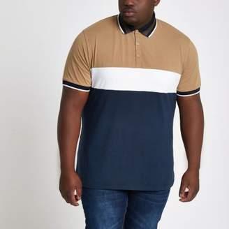River Island Big and Tall navy block slim fit polo shirt