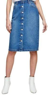 Miss Selfridge Button Cotton Midi Skirt