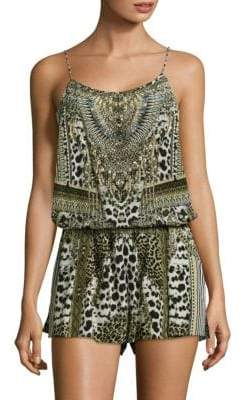 Camilla Animal-Print Silk Romper