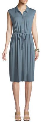 Eileen Fisher Sleeveless Lightweight Viscose Jersey Drawstring-Waist Shirtdress, Petite