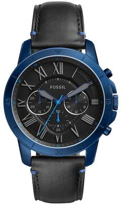Fossil Men's Grant Sport Leather Strap Watch, 44mm
