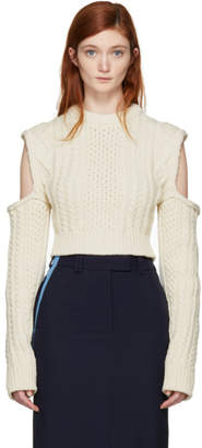 Calvin Klein Off-White Cable Knit Turtleneck