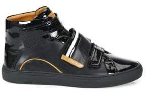 Bally Grip-Tape Patent Leather High-Top Sneakers