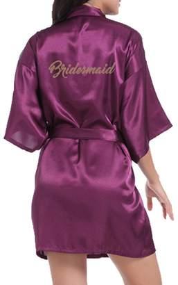 WPFING Bridesmaid Robes Royal Blue Bridal Party Robe Glitter Customized