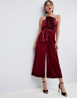 Asos Design Jumpsuit with Knot and Drape Detail in Velvet