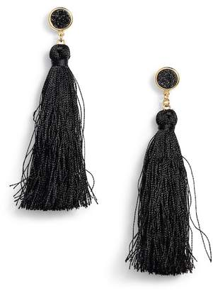 Gorjana 18K Yellow Gold Plated Astoria Druzy Tassel Drop Earrings