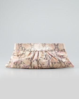 Lauren Merkin Louise Snake-Print Clutch Bag, Pink
