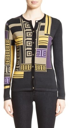 Women's Versace Collection Tetris Silk Blend Cardigan