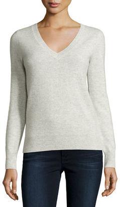 Neiman Marcus Cashmere Collection Long-Sleeve V-Neck Cashmere Top $250 thestylecure.com