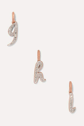 Monica Vinader A-z Alphabet Letter Rose Gold Vermeil Diamond Pendants - H