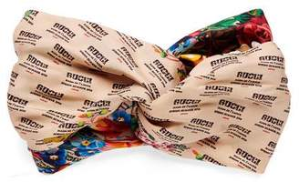 Gucci The stamp and flowers print silk headband