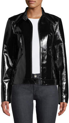 Neiman Marcus Leather Collection Patent Leather Moto Jacket